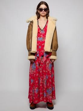 BURGUNDY FLORAL PRINTED SILK DRESS