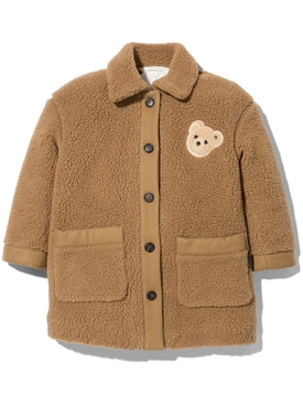 KID'S SHEARLING BUTTONED BEAR COAT BROWN