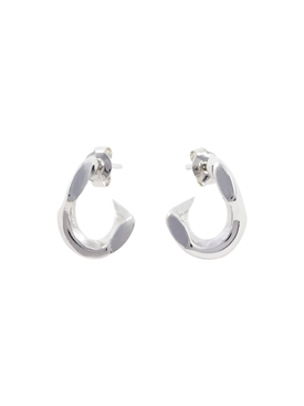 PIERCED MINI CHAIN EARRINGS SILVER