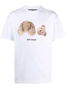 Bear Print Logo T-Shirt White/Brown