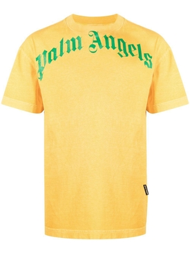 Vintage Wash Curved Logo T-Shirt Yellow/Green