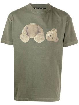 Classic Bear Motif T-shirt, Military Green