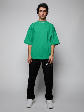 Rear Logo Print T-Shirt Forest Green/White