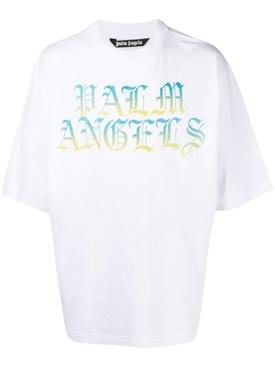 Blue & Yellow Gradient Logo Oversize T-Shirt