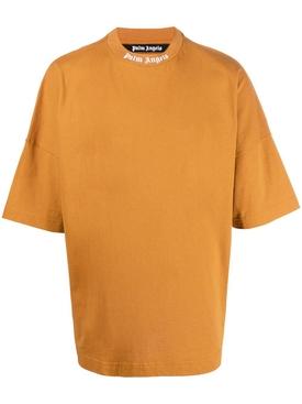 Oversized Crewneck Logo T-shirt HONEY GINGER AND WHITE