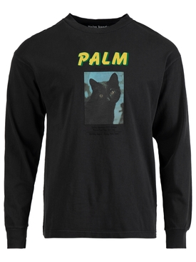 Black Cat Photo Print Long Sleeve T-Shirt