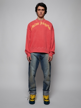 Vintage wash curved logo crew RED AND YELLOW