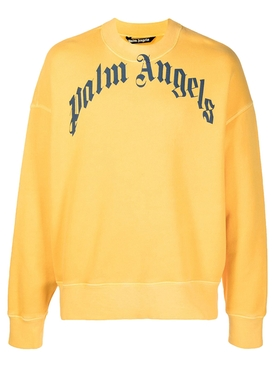 Vintage wash curved logo crew YELLOW AND NAVY