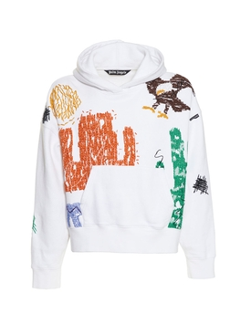 White multicolored New folk print hoodie jumper
