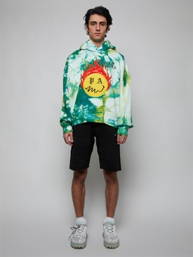 Tie dye burning head hoodie, forest green