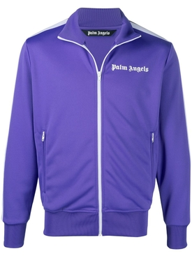 Classic Chest Logo Print Track Jacket Purple White