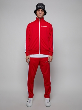 Classic Chest Logo Print Track Jacket Red White