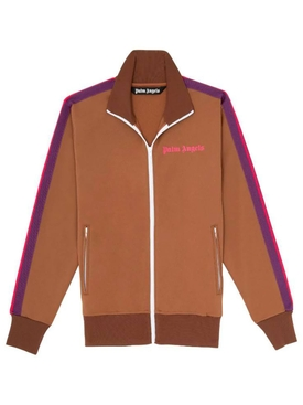 Classic College Track Jacket BROWN MAGENTA