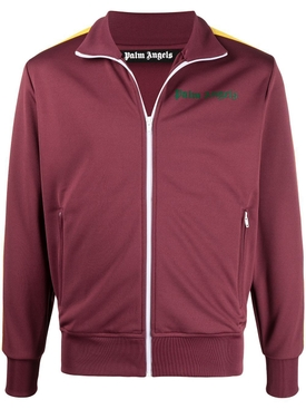 Classic College Track Jacket BURGUNDY & GREEN FLUORESCENT