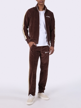 chenille side stripe track pants BROWN