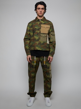 CAMOUFLAGE CARGO PANTS, GREEN