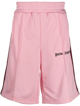 Pink and black track shorts