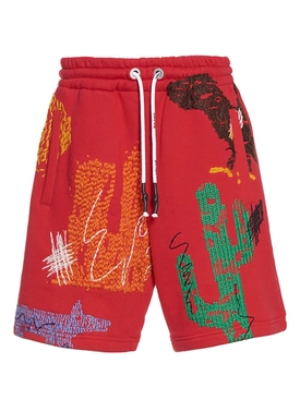 Red New folk allover print shorts