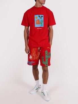 Red New folk allover print shorts