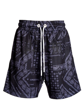 Black bandana print mesh shorts