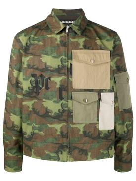 Military green camouflage print shirt