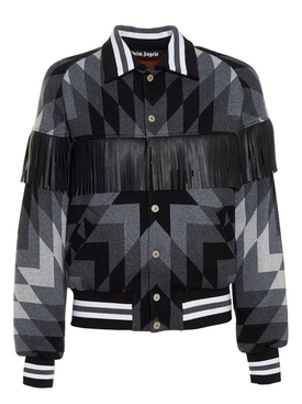 Arizona print fringe bomber jacket