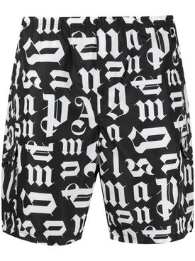 Broken monogram swim shorts Black White
