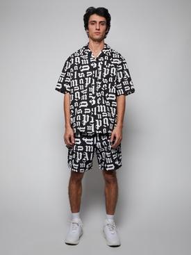 Broken monogram swim shorts Black White