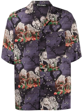 Multicolored skull bones print bowling shirt