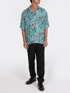 Jewels print bowling shirt TURQUOISE