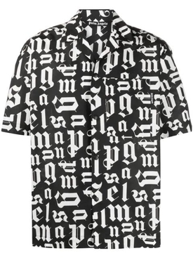 Broken monogram bowling shirt Black White