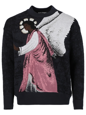 ANGEL JACQUARD CREWNECK SWEATER, BLACK
