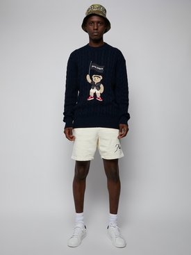 Pirate bear cable knit sweater, NAVY BLUE