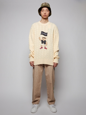 Pirate bear cable knit sweater, BEIGE AND WHITE