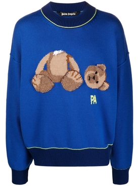 CLASSIC WOOL BEAR SWEATER BLUE AND BROWN