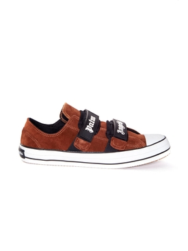 Vulcanized velcro strap sneakers BROWN WHITE