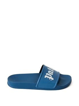 LOGO POOL SLIDE SANDALS BLUE
