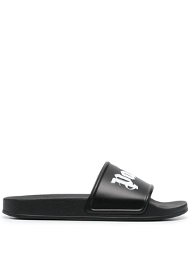 Logo Strap Pool Slides, Black and White