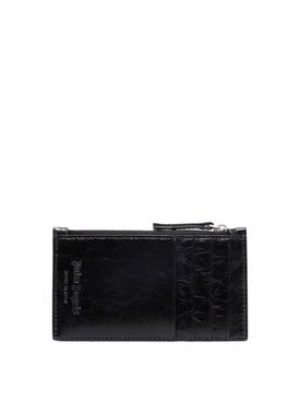 Crinkle Leather Zip Cardholder Black black