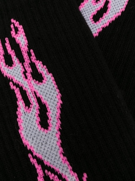 Black and pink flame socks