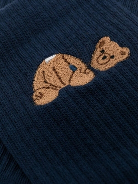 Iconic Bear Logo Socks, Navy and Brown