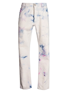 WHITE MULTICOLORED TIE-DYE DENIM PANTS