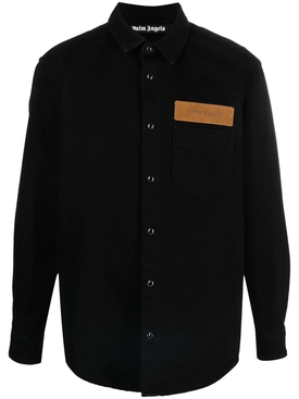 Curved logo denim shirt, black