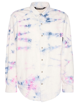 WHITE MULTICOLORED TIE-DYE DENIM SHIRT