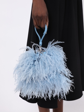 Ostrich feather bag BLUE