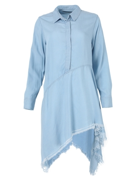 Light blue wash asymmetric shirt dress