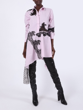 Lace insert asymmetric shirt dress PINK