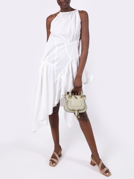 White gathered asymmetric dress