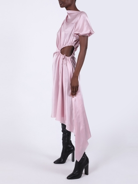 Light pink silk midi cut-out dress