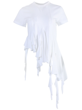 White asymmetric cap sleeve top